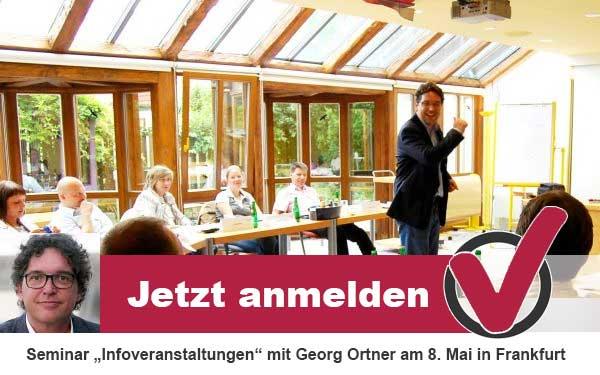 Seminar Infoveranstaltungen am 8. Mai in Frankfurt